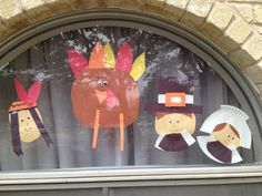 Thanksgiving kids craft window. Pilgrim, turkey and Indian.