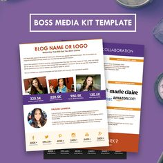 Boss Two-Page Media Kit Template - click the pin for bigger previews! Attract more sponsors with this bangin' press kit/digital resume.