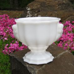 White Milk Glass Urn Planter With Handles by E O by oakhillvintage