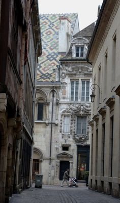 Dijon, France. All the roof tops are tiled like this.