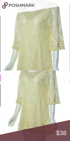 Sassy Bling Lace Blouse Creamy Vanilla Sassy Bling brand Lace top in 1X and 2X only.... this piece goes well with the others in this line, enabling a wardrobe to intermix pieces for multiple looks Sassy Bling Tops Blouses
