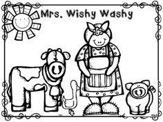 Mrs. Wishy Washy Story Retelling Stick Puppets with Tub
