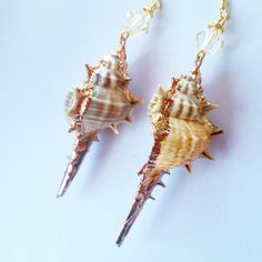 Statement Shell Dangle Earrings w/ Crystal by DirtyPopAccessories on Etsy