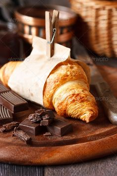 Chocolate croissant / Culinary / Postcards / Postallove - postcards made with love Food Photography Styling, Food Styling, Chocolate Croissant, But First Coffee, Aesthetic Food, Gelato, Soul Food, Scones, Bakery