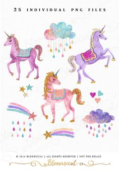 Whimsical Hand Painted cliparts featuring watercolor & glitter unicorns, clouds, rain droplets, stars, hearts, rainbows, shooting stars in a dreamy
