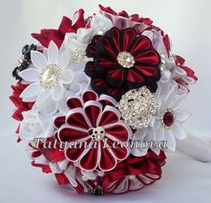 Wedding Bouquet Brooch bouquet red and white black 7 by LIKKO