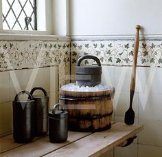 Victorian icecream making equipment in the Dairy at Ham House
