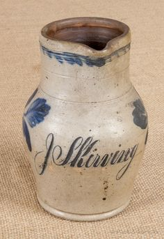 Pennsylvania stoneware presentation pitcher, c., attributed to Remmey, inscribed J Skirving, with cobalt tulip d. on Jan 2014 Antique Crocks, Old Crocks, Antique Stoneware, Antique Dishes, Stoneware Crocks, Vintage Dishes, Stoneware Clay, Glazes For Pottery, Glazed Pottery