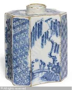DELFT - BLUE AND WHITE CHINOISERIE TEA-CANISTER