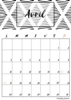 Calendrier - Avril 2017 - Imprimes le calendrier pour customiser ton agenda! A VOIR : ma vidéo sur youtube