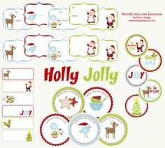 "The collection of printable Christmas labels includes: ""handmade with love,""  ""from the kitchen of,"" ""blank to and from,"" in styles that fit to and from,  round holiday stickers and address labels."