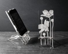 iPhone 5 or iPhone 4 Phone Stand Docking Station - Melody Flowers. $24.00, via Etsy.