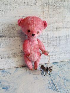 OOAK artist bear teddy bear, 9 inches, ready to ship, pink vintage plush. $78.00, via Etsy.
