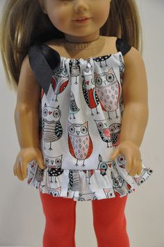 American Girl Doll Clothes Owl Print Top with by CircleCSewing