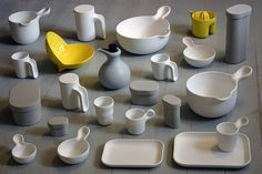 <p>Jensen is a ceramicist and the pieces, produced mostly in melamine, began as ceramics.</p> Ceramic Tableware, Ceramic Cups, Ceramic Pottery, Pottery Art, Hand Thrown Pottery, Glass Jug, Plastic Plates, Ceramic Design, Miniture Things