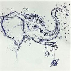 """Draw elephant similar to this in frame with caption """"wild and free"""" for ava for xmas Bild Tattoos, Body Art Tattoos, Tattoo Drawings, Tatoos, Art Drawings, Cross Tattoos, Men Tattoos, Couple Tattoos, Finger Tattoos"""