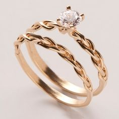 Braided Wedding Ring Set - 14K Gold and Diamond engagement ring by Doron Merav