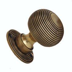 Reeded aged brass door knob