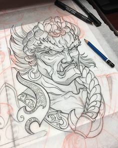 Japanese Dragon Tattoos, Japanese Tattoo Art, Japanese Tattoo Designs, Hannya Tattoo, Irezumi Tattoos, Tattoo Sketches, Tattoo Drawings, Sick Drawings, Cute Monsters Drawings