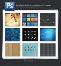 PsDefaults is a complete set of replacement defaults (also known as presets) for Adobe Photoshop. It includes modern patterns, brushes, shapes, styles, actions, and more.