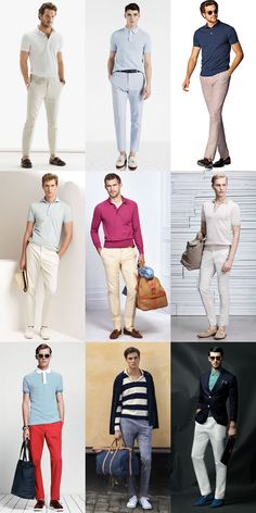 Riviera style remains as relevant today as when it first took shape almost a century ago. From lightweight tailoring to Breton tops, here's the complete guide to pulling off men's Riviera fashion and style. Khaki Pants Outfit, Polo Shirt Outfits, Blazer Outfits Men, Polo Outfit, Outfits Hombre, Polo Shirts, Style Casual, Men Casual, Semi Formal Outfits