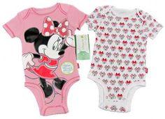 Disney Girls 2-Piece Minnie Mouse Bodysuit Set Pink and White