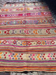 "Pink CICIM Kilim Rug, Decorative Embroidered Pink Blue Orange  Kilim Rug, Handwoven Wool Kilim Rug 84.64 "" x 59.84  inch  FREE SHIPPING from ETSY"