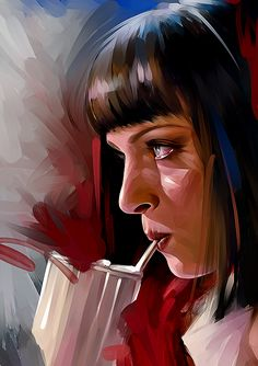 "Mia Wallace ""That's when you know you've found somebody special. When you can just shut the fuck up for a minute and c. Arte Pulp Fiction, Bd Pop Art, Frankenstein Art, Iron Man Art, Tarantino Films, Mia Wallace, Movie Poster Art, Digital Portrait, Science Fiction Art"