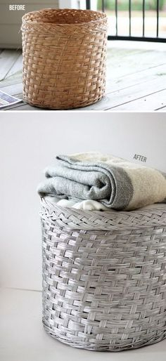 Make your wicker basket a little less traditional with a metal finish. 35 Simple Ways Spray Paint Can Make Your Home Look More Expensive Spray Painted Baskets, Spray Paint Wicker, Silver Spray Paint, Spray Paint Cans, Painted Wicker, Spray Painting, Cheap Curtain Rods, Party Girlande, Tinta Spray