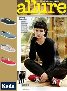Allure features Krysten Ritter donning red lips and red Keds.