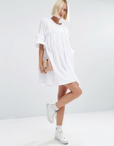 ASOS White | ASOS WHITE Frill Dress With Contrast Fabric