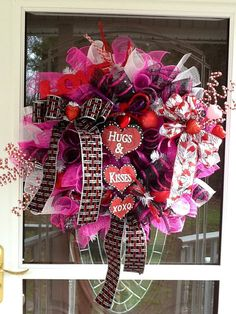 Mesh Valentines Day Wreath by WreathsEtc on Etsy, $88.00