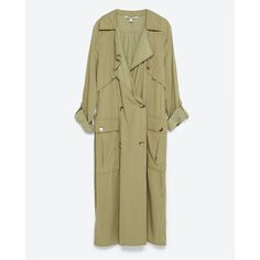 Zara Flowing Trench Coat ($40) ❤ liked on Polyvore featuring outerwear, coats, jackets, coats & jackets, dark olive, brown trench coat, zara trenchcoat, zara coat, army green coat and olive trench coat