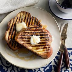 If your grill is large enough, you can bang out all 12 slices of French toast in just a few minutes. While any white bread is delicious here, brioche and challah make especially custardy toasts.
