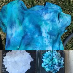 my ice dye shirt  1. crumple shirt on a rack with  container  under it to catch dye 2. cover with ice 3. drip tie dye all over ice (I used green, turquoise, and indigo) 4. let sit for 6-8 hrs (mine sat for 5ish hrs) 5. hang up to dry 6. rinse color out 7. wash on bulk & hot setting by itself 8. dry 9. done!