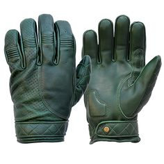 Goldtop Merino Wool Lined Twin Strap Black Leather Cafe Racer Motorcycle Gloves