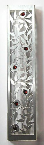 Dorit Judaica Beautiful Pomegranate Mezuzah with Swarovski Crystals