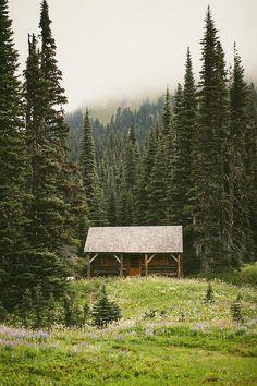 cabinporn: Следопыт каюте на Trail чудес вблизи охотничьих угодий индийской Генри в Маунт-Рейнир, штат Вашингтон.  Предоставил Кэтрин Джонсон.  Больше фотографий здесь.