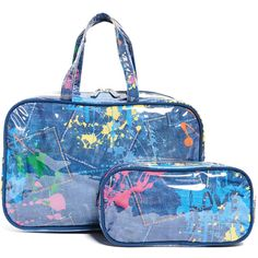 Gift Boutique Child's Paint Splatter Cosmetic Bag Set (£27) ❤ liked on Polyvore featuring beauty products, beauty accessories, bags & cases, multi, travel kit, toiletry kits, cosmetic bag, make up bag and wash bag