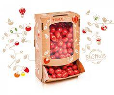 Quatre Mains package design - tomabox, kerstomaten, plantenslinger Rice Packaging, Cool Packaging, Food Packaging Design, Vegetable Packaging, Fruit Box, Food Stall, Organic Plants, Fresh Fruit, Vegetables