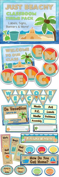 Beach theme pack for your classroom - banners, signs, labels, and more! Classroom Decor Beach Theme