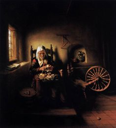 Old Woman Peeling Apples, 1655, by Nicolaes Maes (Dutch, 1634-1693).