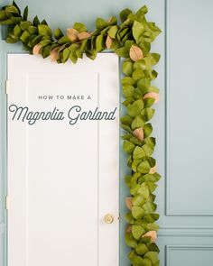 Paper Magnolia Leaf Garland – The House That Lars Built – Diy Garland 2020 Magnolia Leaf Garland, Fall Leaf Garland, Greenery Garland, Magnolia Leaves, Felt Garland, Diy Garland, Magnolia Flower, Flower Garlands, Diy Wreath