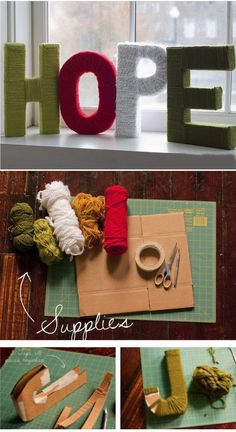 Yarn letters. Love these! We use oversize letters for a modern, inexpensive nursery decor in many of our DIY Design Plans at www.mixxmodern.com. Keep it green with natural fiber yarns.