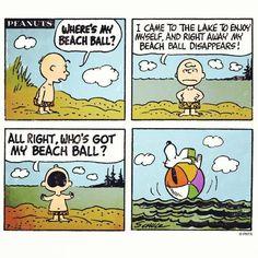 Creative use of the beach ball, Snoopy!