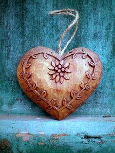Carved wooden heart ornament