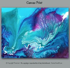 Extra large canvas wall art featuring abstract ArtFromDenise. Colors include teal, aqua, white, navy blue, purple, aubergine, and plum. View more info at https://www.etsy.com/listing/461773532