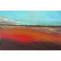 original painting minimalist  acrylic landscape abstract field clouds sky red pale orange blue rust  minimalist chocolate 24x36