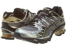 Asics Gel-Kinetic 4 Mens T133N-7490 Black Gold Grey Running Shoes Sneakers Sz 8