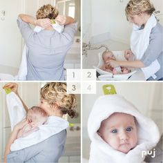 Puj Hug Hands-Free Hooded Infant Towel White - Simply dry off your baby with the Puj Hug. This hooded infant towel features two silicone tabs that interlock around the neck, allowing you to pick up your child with two free hands. After Baby, Hygiene, Niece And Nephew, First Time Moms, Baby Registry, Baby Sleep, Baby Gear, Mom And Dad, New Baby Products